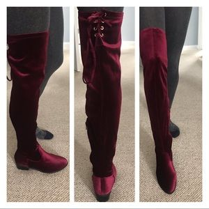 ❤️Gorgeous JUSTFAB over the knee velvet boots👢